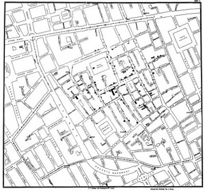 Snow's map of 1854 London cholera outbreak.