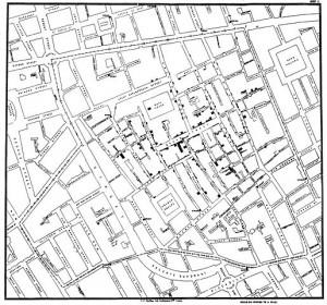 Snow's map of 1854 London cholera outbreak.