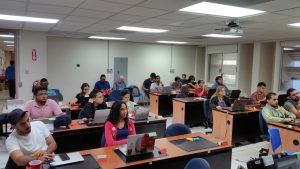 Photo of workshop venue showing Participants in the Data Carpentry Genomics workshop