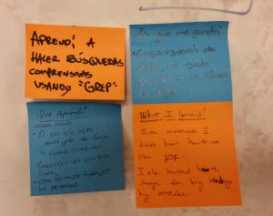 Example responses from learners on something they learned at the workshop.